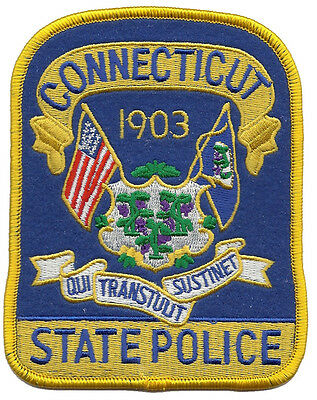 """Connecticut State Police Shoulder Patch 4 7/8"""" tall x 3 7/8"""" inches wide - NEW"""