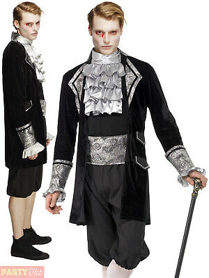 Mens Fever Baroque Vampire Costume Adult Masquerade Halloween Fancy Dress Outfit