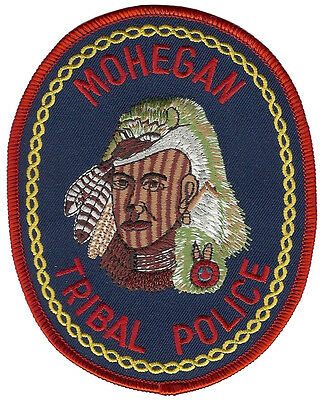 """Mohegan Tribal Police Connecticut shoulder patch - 4 3/4"""" tall by 3 3/4"""" wide"""