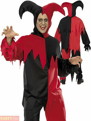 Mens Dark Jester Costume Adults Horror Circus Halloween Fancy Dress Outfit