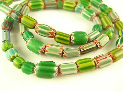 "26"" strand mixed greens tribal Indian made glass chevron trade beads AB-0031"