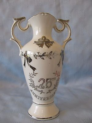 LEFTON VASE 25 Year ANIVERSARY Silver Cream