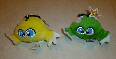 "NEW Lot of 2 Neopets Yellow and Green KIKO 5"" Plush Stuffed Animal Keychain"
