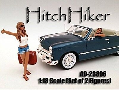 Hitchhiker Set of 2 Figures American Diorama Figurine 23896 - 1/18 scale by