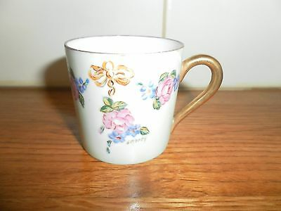 Limoges France Hand Painted Signed Demitasse Coffee Cup