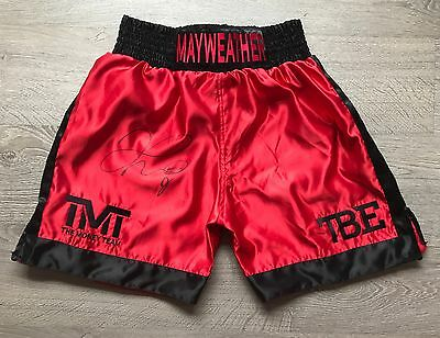 FLOYD  MAYWEATHER, Signed custom made boxing shorts (Lovely Bold signature) !!!