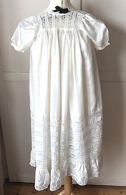 VICTORIAN ANTIQUE 19TH CENTURY PURE SILK LACE CHRISTENING GOWN DRESS collectors