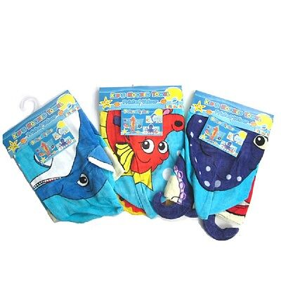 Kids Hooded Novelty Swim Beach Towel Poncho Soft Cotton Octopus Dolphin Seahorse