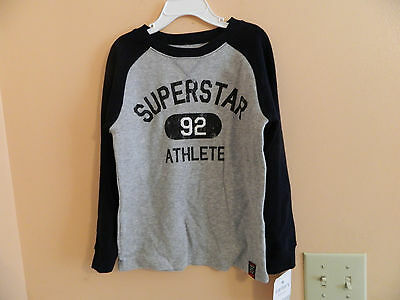 "NWT Carters toddler ribbed long sleeve gray shirt w/navy sleeves & ""Super..."" 5T"