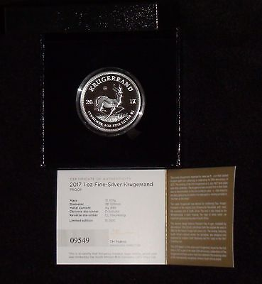 2017 South Africa Krugerrand Silver Proof 1oz Coin W/ Box & COA *OFF QUALITY*