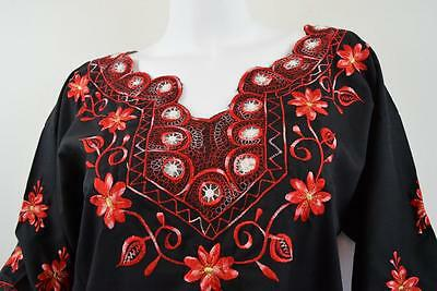 Vtg Black Mexican Red Embroidered Boho Cotton Tunic Top Shirt Womens Sz M L