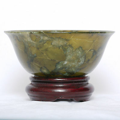 A 19thC. Chinese Spinach Jade Bowl