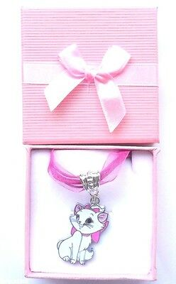 Disney's AristoCat Marie Kawaii Cute Pendant on Organza & Cord Necklace in Box