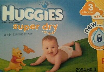 87 Couches Huggies  Super Dry - Taille 3 - 4 A 9 Kg