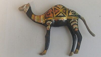 Vintage SOLID BRASS CAMEL FIGURINE Ornate Etchings Gold Copper Silver Paint 5x8