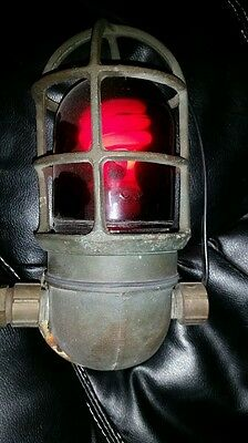 Antique marine nautical brass light with red glass