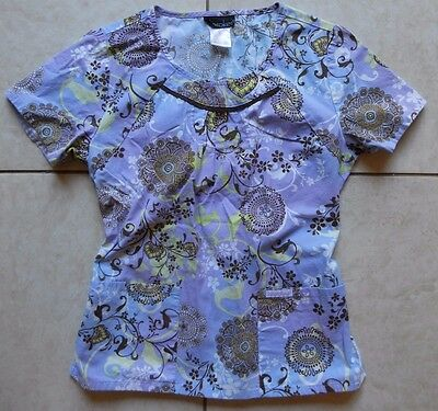 Cherokee Women's Scrub Top / Size Small / Purple floral print