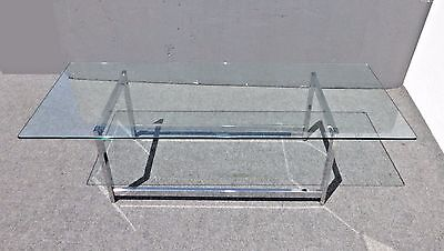 Vintage Contemporary Style Rectangle Glass Top & Chrome Base COFFEE TABLE