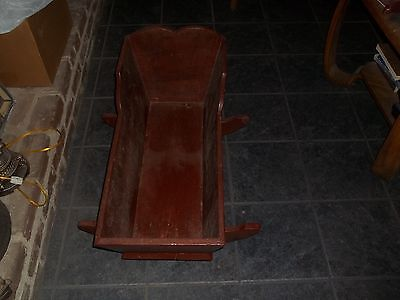 "ANTIQUE WOOD WOODEN HANDMADE BABY ROCKING CRADLE 33"" Long x 14"" Wide x 19"" Tall"