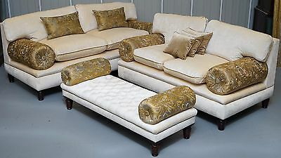Brand New George Smith Sofa Stool Suite Rrp £24,000+ With Paperwork Velvet Silk