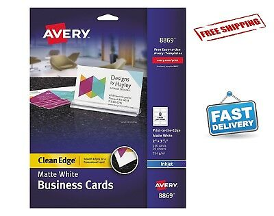 160 Business Cards Print to Edge Clean Edge for Inkjet Printers White Two Sided