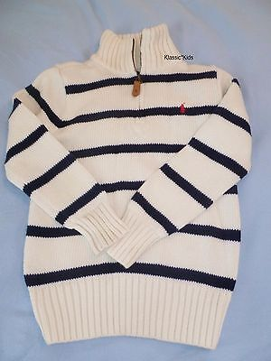 RALPH LAUREN Polo Boys 6 SWEATER Black & Cream STRIPED 1/4 Zip-Up Red Pony