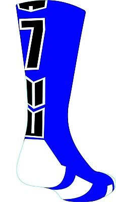(Small, #7) - Player Id Number Crew Sock (SINGLE SOCK) - Blue/Black. Shipping In
