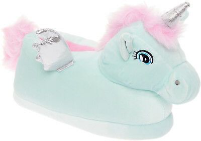 Silver Lilly Unicorn Plush Animal House Slippers w/ Comfort Foam Support