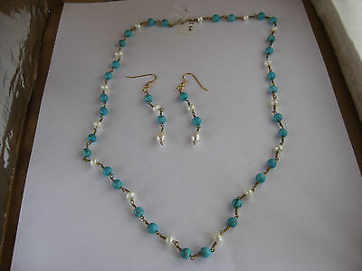 Roman or Greek style Hand Wired Bead Necklace and Earrings; Turquoise and Pearls