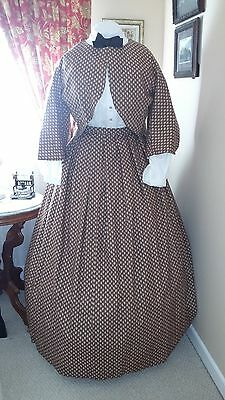 Civil War Reenactment Ladies SZ 22 Brown Floral Zouave Jacket and Skirt
