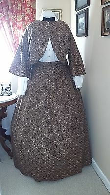 Civil War Reenactment Ladies SZ 26 Black with Pink Zouave Jacket and Skirt