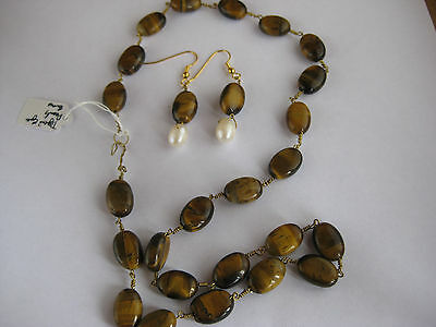 Roman/Greek style Hand Wired Bead Necklace and Earrings; Tiger's Eye