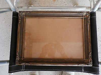 "Vintage wood gesso gold tint picture frame w/ glass image size 10"" x 14"""