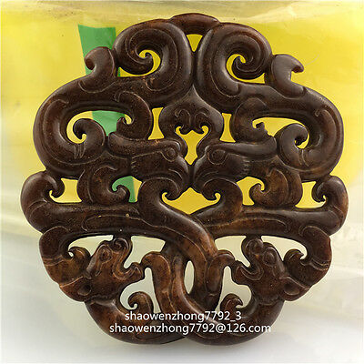Old Chinese hand-carved jade Dragon phoenix amulet necklace Pendant antique 龙凤图