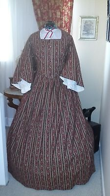 Civil War Reenactment Tea Bodice and Skirt Size 24 Red/Black Paisley Stripe