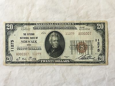 1929 $20 National Currency Note    .Citizens Bank of Norwalk Ohio  # 11275