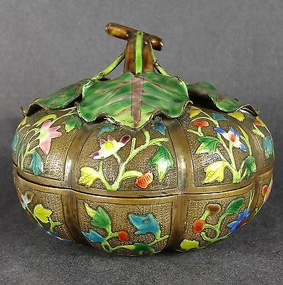 Early 1900s Chinese Enamel Box Melon Form Repousse Floral Lotus Prunus
