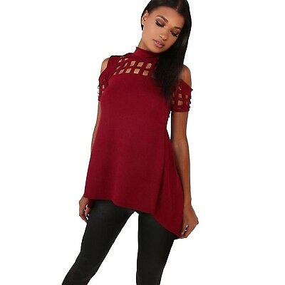 (Small, Red) - Fheaven Casual Loose Hollowed Out Shoulder Short Sleeve Shirts Op