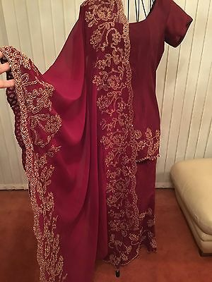 Ladies Beautiful 3 Piece Indian Red Gold Bollywood Shalwar Kameez Suit Size 10
