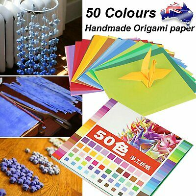 50 Mixed Colours Origami Square Paper Craft Folding 20x20cm Single Sided Sheets