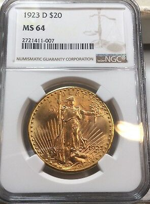 1923-D $20 Saint St. Gaudens Gold Double Eagle MS-64 NGC Denver Mint