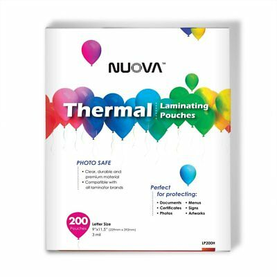 "Nuova Premium Thermal Laminating Pouches, 9"" x 11.5""/Letter Size/3 mil, 200 Pack"