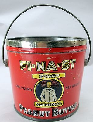 Vintage FI-NA-ST First National Peanut Butter Tin Pail Canco No Top