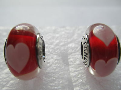 2 Authentic Pandora Silver 925 Ale Red Love Pink Heart Bead Charm 790658 New