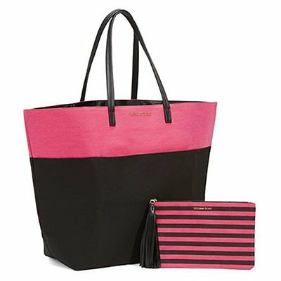 NEW VICTORIA'S SECRET LIMITED EDITION CANVAS Black TOTE BAG with pouch