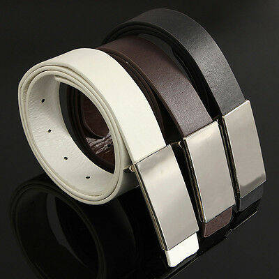 Fashion Smooth Metal Buckle Casual Strap Waistband Men's Belt Leather Belt New