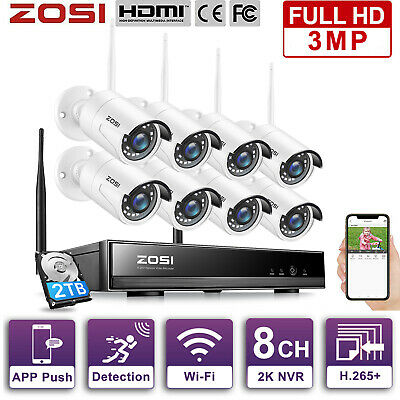 ZOSI 1080P 8CH NVR Wireless IP Camera Security Surveillance WIFI NVR System 1TB