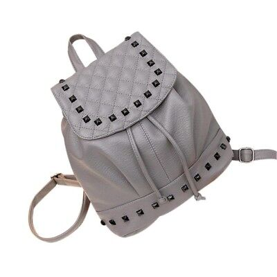 (Gray) - Gotd Girl Rivet Leather School Bag Travel Backpack Satchel Women Should