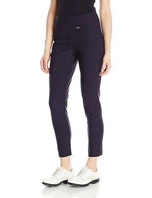 (Size 2, Navy) - EP Pro Golf Women's Bi-Stretch Pull On Slim Ankle Pants. Delive