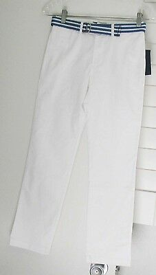 Polo Ralph Lauren Boys Twill Pants with Striped Belt White Sz 5 - NWT